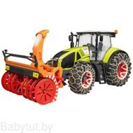 Игрушка Bruder трактор Claas Axion 950 со снегоочистителем и цепями 03017